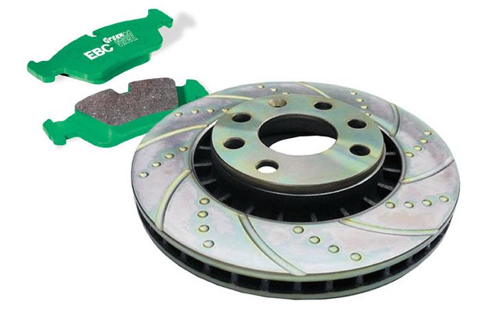 Комплект передних тормозов EBC Brakes на MAZDA 6, 2.0, 2002- (диски Turbo Groove и колодки GreenStuff)