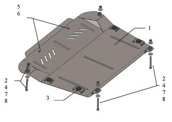 Защита двигателя и КПП Lexus ES 350, 3.5, 2007-