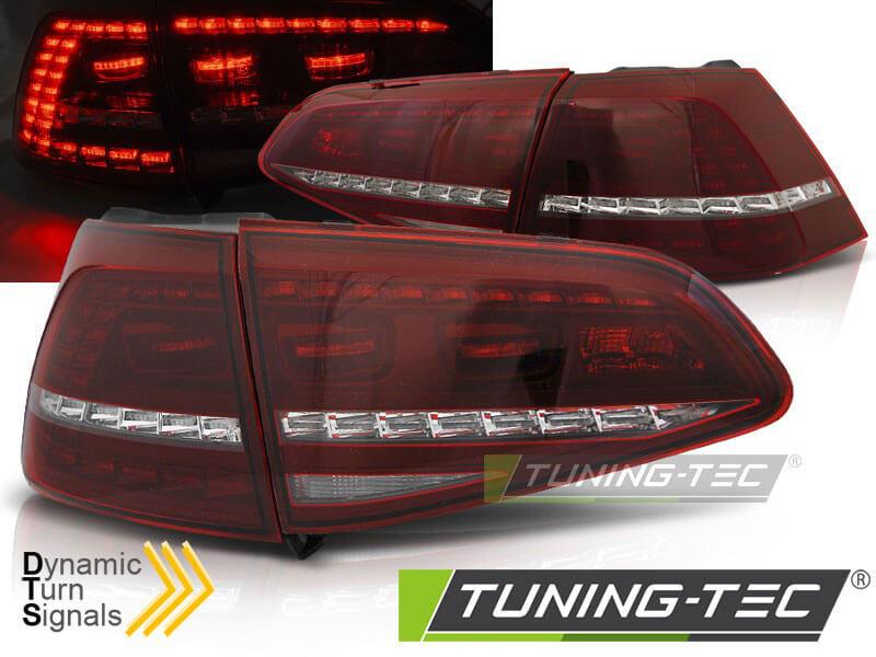 Альтернативная оптика для VW GOLF VII (КРАСНО-БЕЛЫЕ) R СТИЛЬ, c динамическим поворотом. Подходят для модели с лампочными задними фонарями (без диодов) (тюнинг оптика, цена за комплект)