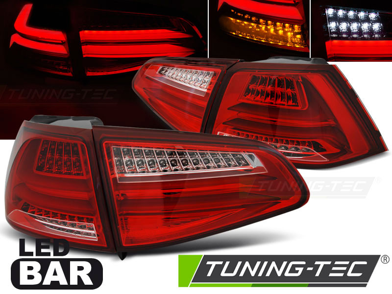 Альтернативная оптика для VW GOLF 7 13- RED WHITE LED BAR (тюнинг оптика, цена за комплект)