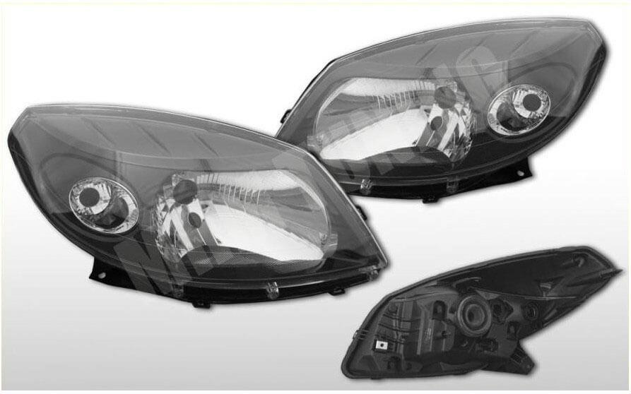 Альтернативная оптика для DACIA SANDERO черный корпус (тюнинг оптика, цена за комплект)