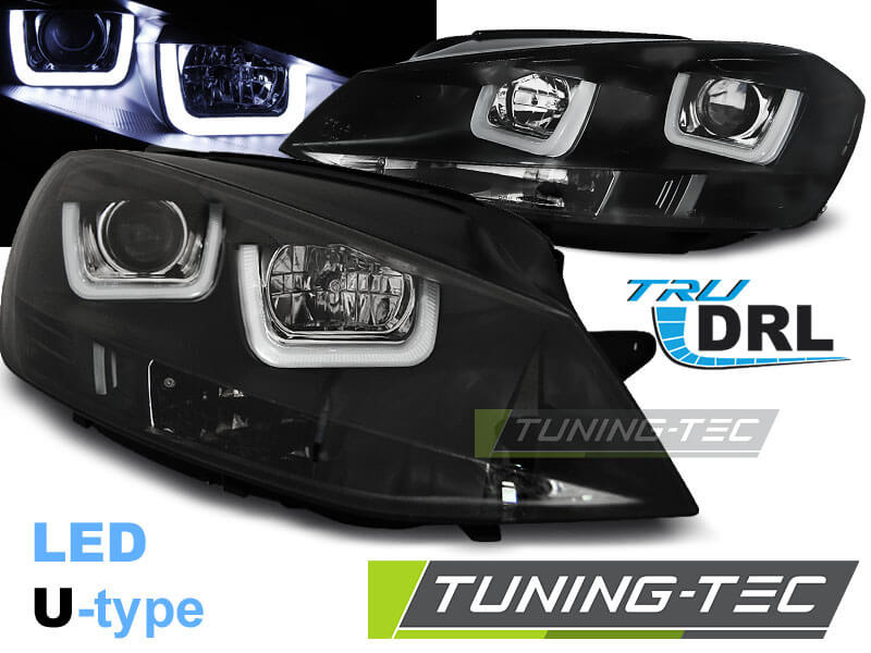 Альтернативная оптика для VW GOLF 7 11.12- U-TYPE BLACK (тюнинг оптика, цена за комплект)