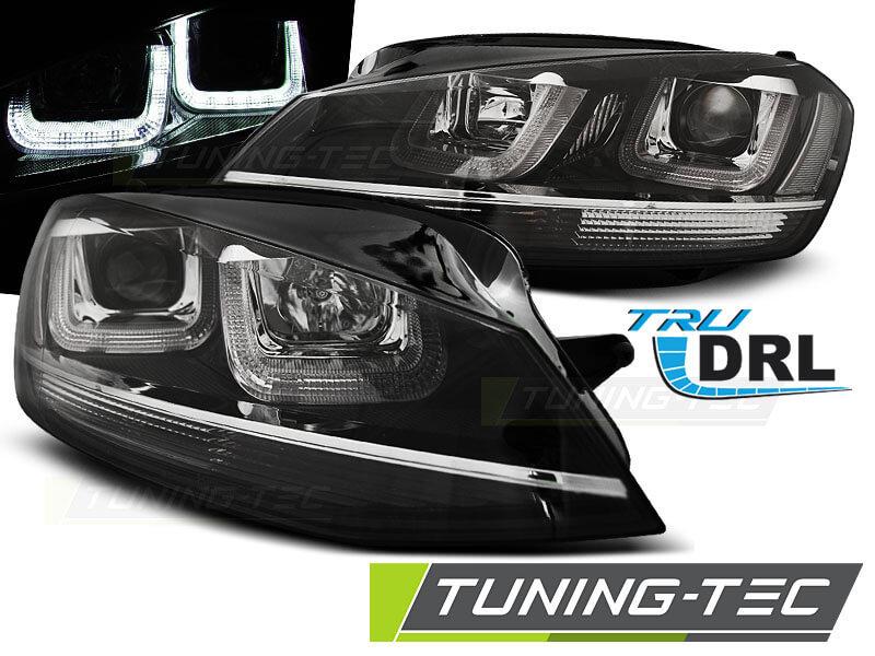 Альтернативная оптика для VW GOLF 7 11.12- U-TYPE BLACK WITH CHROME LINE (тюнинг оптика, цена за комплект)