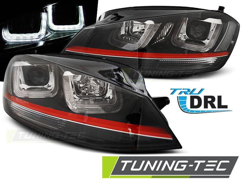 Альтернативная оптика для VW GOLF 7 11.12- U-TYPE BLACK WITH RED LINE GTI LOOK (тюнинг оптика, цена за комплект)