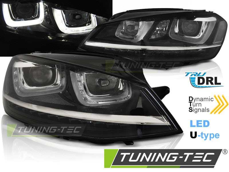 Альтернативная оптика для VW GOLF 7 11.12- U-TYPE BLACK с динамическим поворотом (тюнинг оптика, цена за комплект)