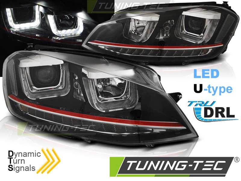 Альтернативная оптика для VW GOLF 7 11.12-17 U-TYPE BLACK RED LINE SEQ (тюнинг оптика, цена за комплект)