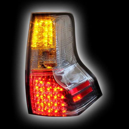 Альтернативная оптика для TOYOTA PRADO FJ150 `08-, T/L ,фонари задние, светодиодные, прозрачные, хром, со светодиодным поворотником (тюнинг оптика, цена за комплект)