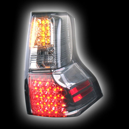 Альтернативная оптика для TOYOTA PRADO FJ150 `08-, T/L , фонари задние, светодиодные, тонированный хром, со светодиодным поворотником NO (тюнинг оптика, цена за комплект)