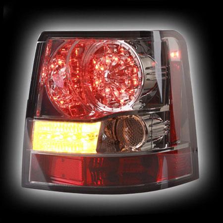 Альтернативная оптика для LAND ROVER, RANGE ROVER SPORT '06- фонари задние, светодиодные, тонированный хром, светодиодный поворотник (тюнинг оптика, цена за комплект)