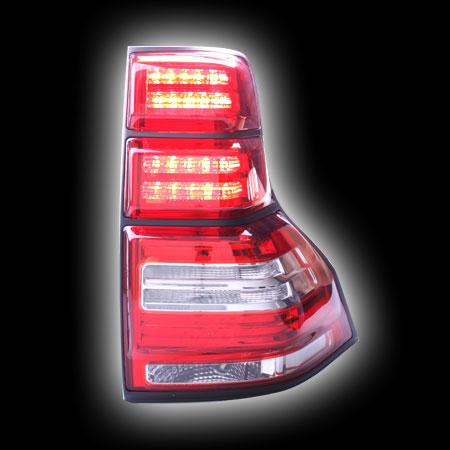Альтернативная оптика для TOYOTA PRADO FJ150 `08-, фонари задние, светодиодные, прозрачный красный, с черной окантовкой (тюнинг оптика, цена за комплект)