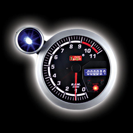 Тахометр (125мм), цифровой дисплей, внешняя вспышка,   7 цвет.подсветка  (0-11000RPM)