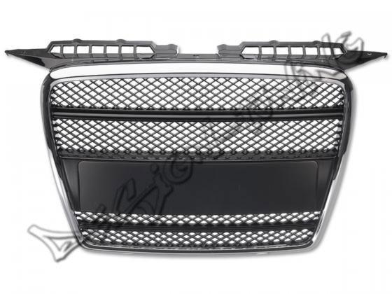 Решетка радиатора Audi A3 8P.  Год выпуска:  2005-2008. Материал: ABS - пластик. Цвет:черная/ хром. без логотипа.