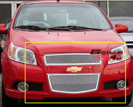 Декоративная решетка радиатора+бампера Chevrolet Aveo 09-, нержавеющая сталь