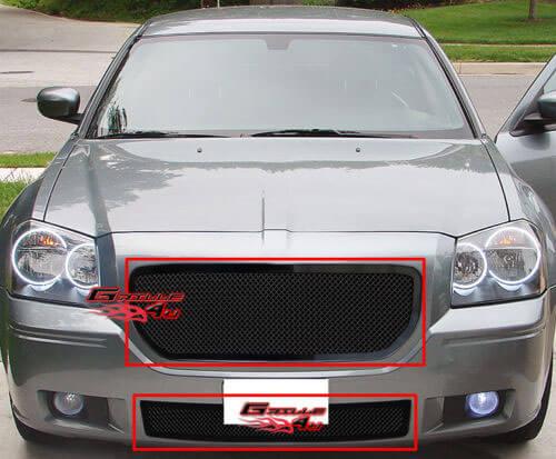 Декоративная решетка радиатора+бампера Dodge Magnum '05-07 нержавейка