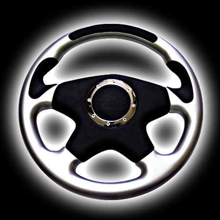 Руль PRO.SPORT 320mm, кожа, 4 спицы, серебр. вставка, RS-6311