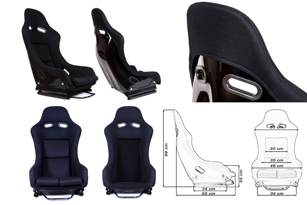 Сиденье GTR черное. Монолитная конструкция,материал – стекловолокно с эпоксидной смолой, задняя часть открыта – окрашена в черный глянец, тканевая обивка. В комплекте крепления (салазки).