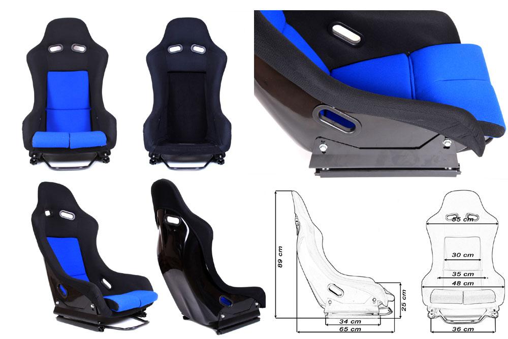 Сиденье GTR черно/синее. Монолитная конструкция,материал – стекловолокно с эпоксидной смолой, задняя часть открыта – окрашена в черный глянец, тканевая обивка. В комплекте крепления (салазки).
