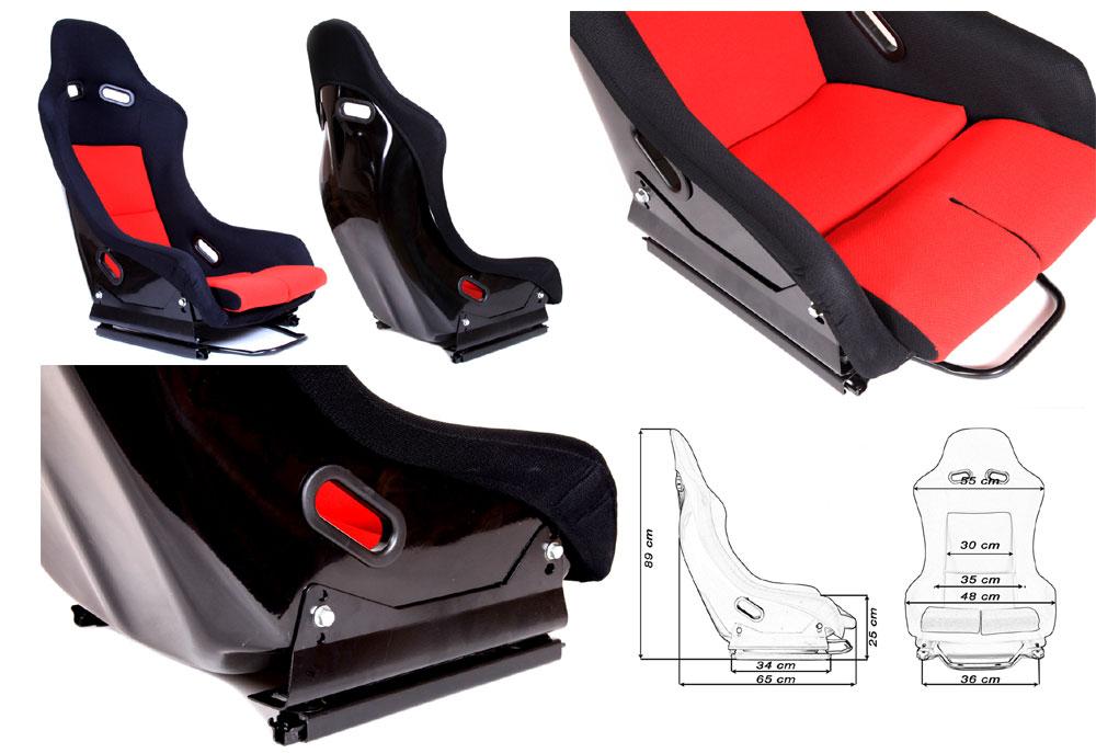 Сиденье GTR черно/красное. Монолитная конструкция,материал – стекловолокно с эпоксидной смолой, задняя часть открыта – окрашена в черный глянец, тканевая обивка. В комплекте крепления (салазки).