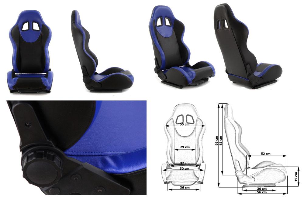 Сиденье MONZA+ 4/5D, черно/синее. Изготовлено из стальной рамы. В комплекте крепления (салазки). Вес  - 11,5 кг