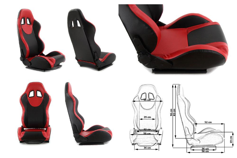 Сиденье MONZA+ 4/5D, черно/красное. Изготовлено из стальной рамы. Материал - кожа. В комплекте крепления (салазки). Вес  - 11,5 кг