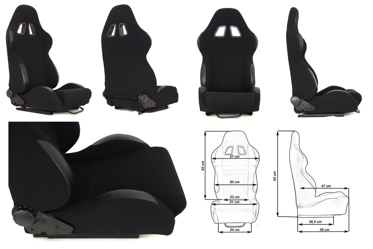 Сиденье MONZA 4/5D, черное. Изготовлено из стальной рамы, тканевая обивка. В комплекте крепления (салазки). Вес  - 11,5 кг