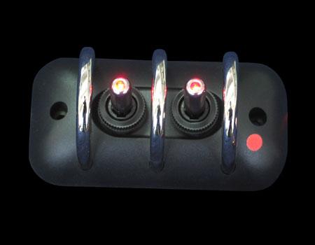 Панель с защитой 97mmx49,8mm черн 2 тумблера красн. подсв.